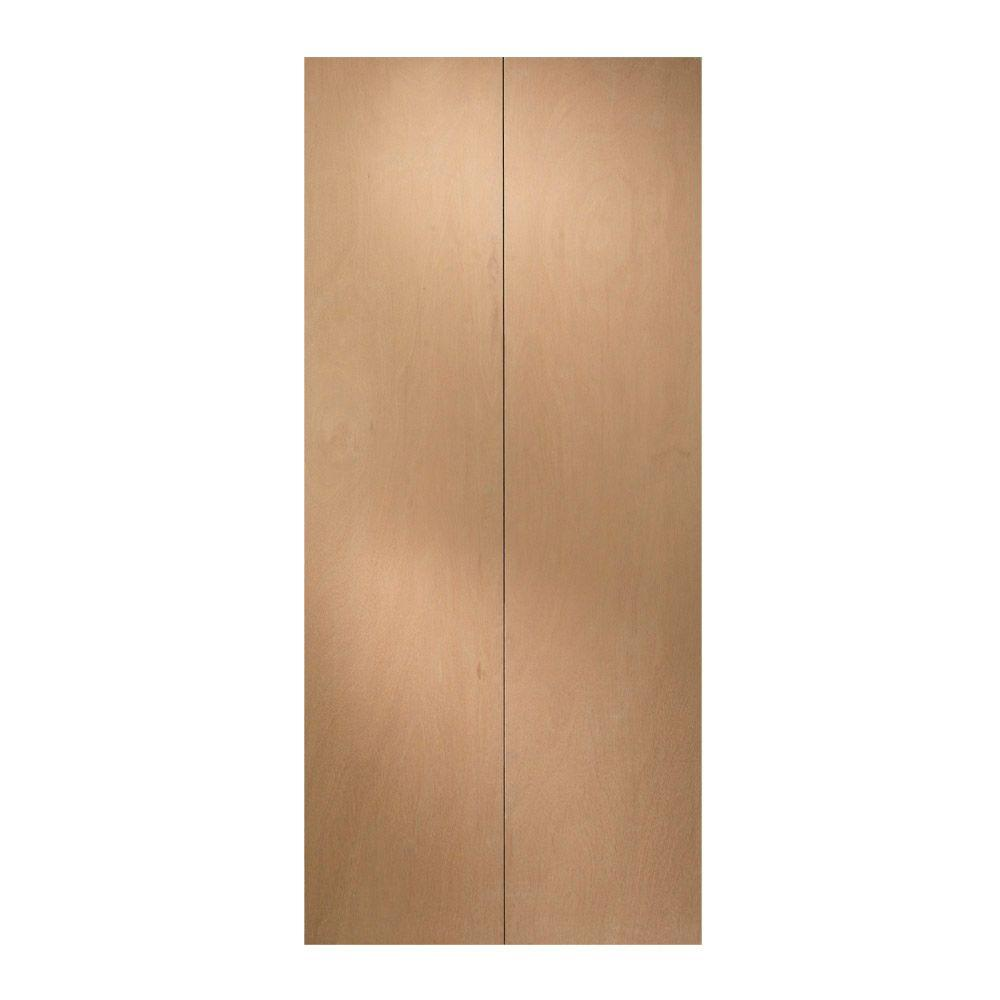 JELD-WEN 30 in. x 78 in. Unfinished Flush Hardwood Closet Bi-fold ...
