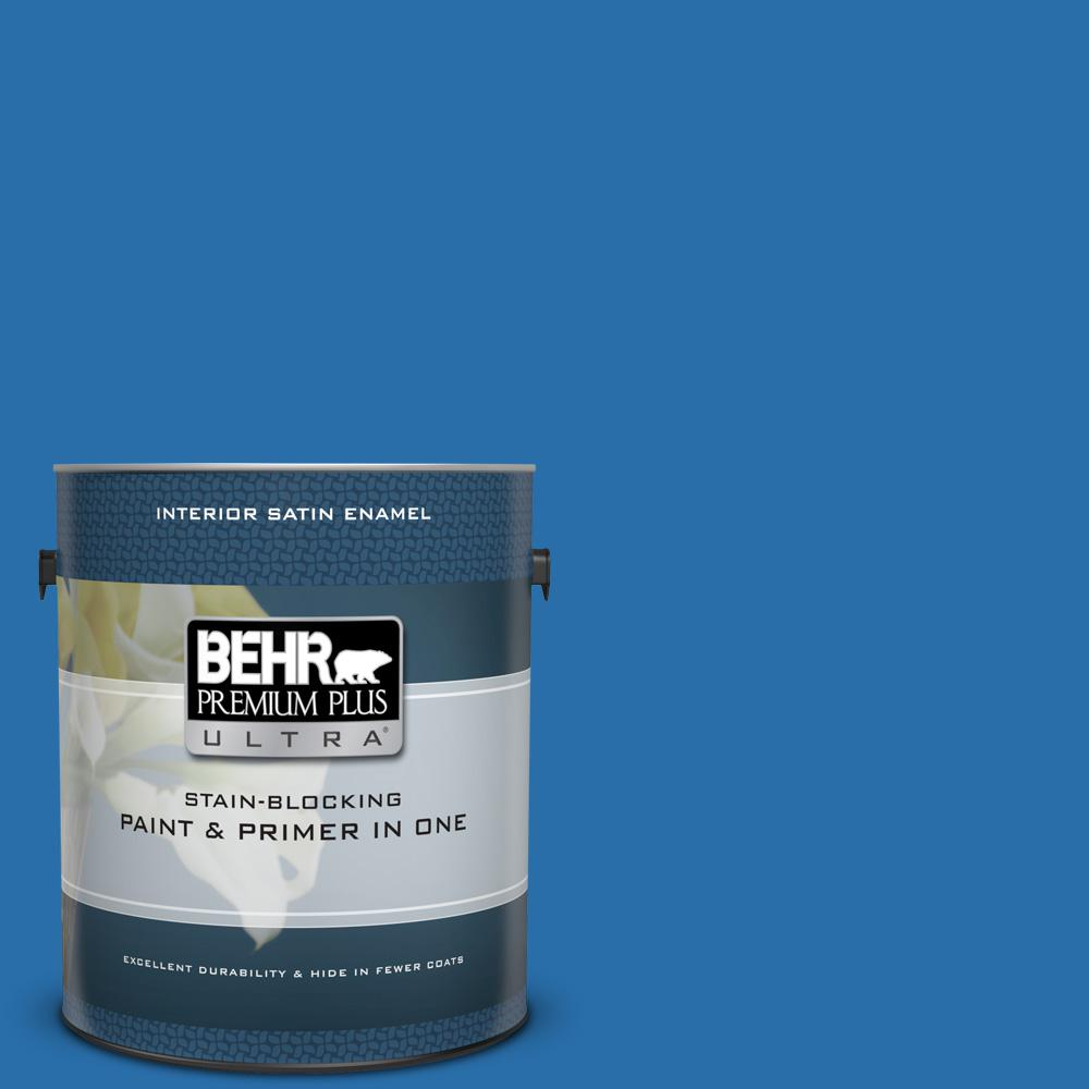 BEHR Premium Plus Ultra 1 gal. #560B-7 Cerulean Satin Enamel Interior Paint and Primer in One