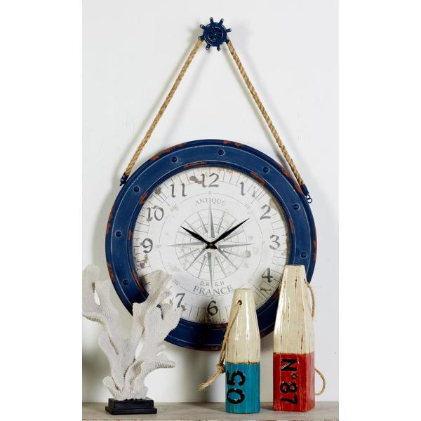 Blue Compass Wall Clock with Rope and Pulley Design Hanger