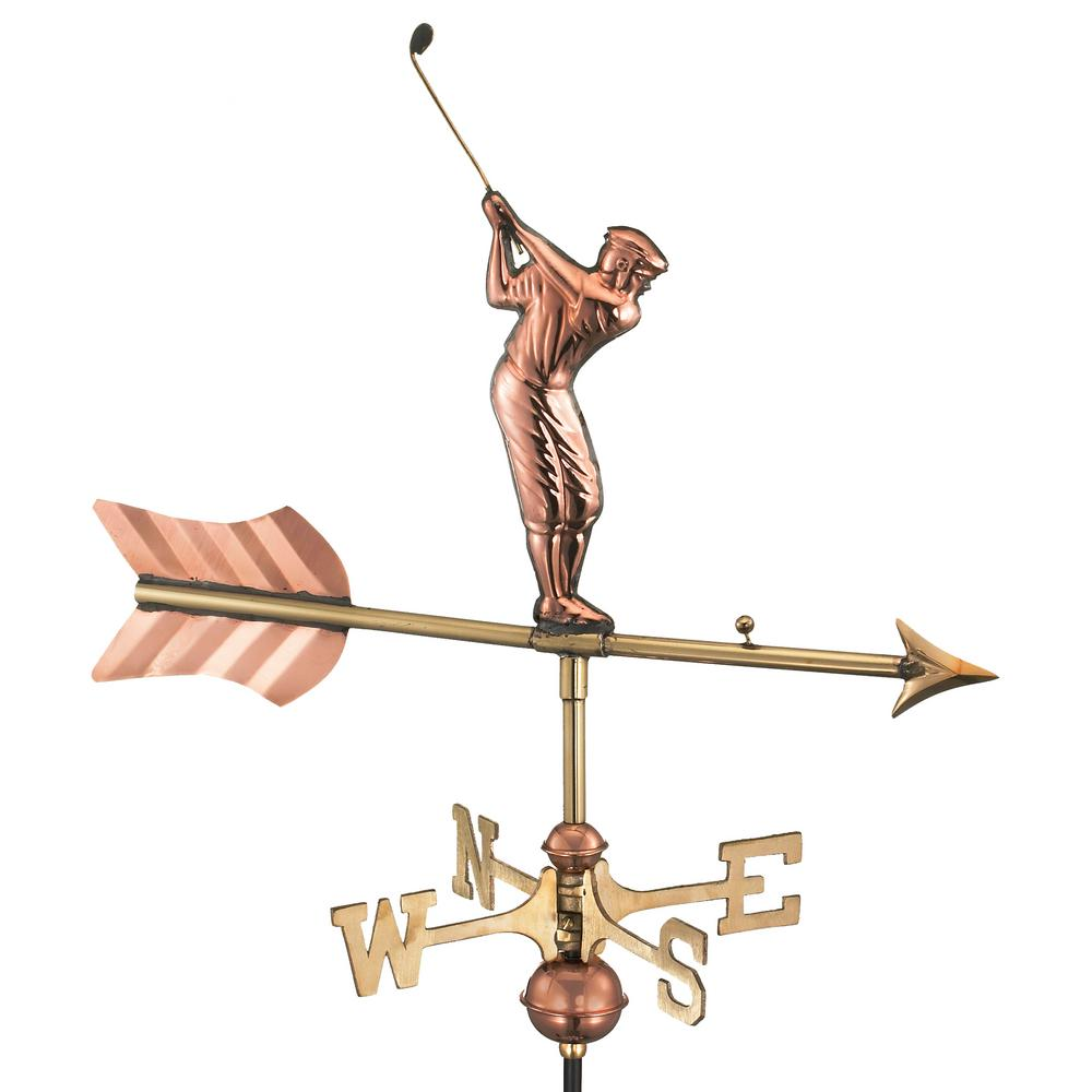 Golfer Cottage Weathervane - Pure Copper with Roof Mount