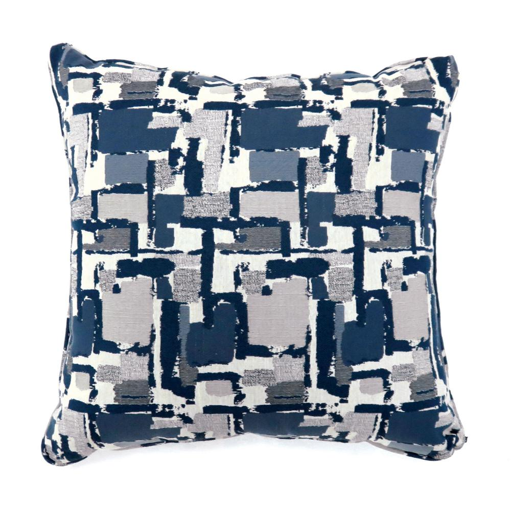 Concrit Blue Geometric Polyester 22 in. x 22 in. Throw Pillow (Set of 2)