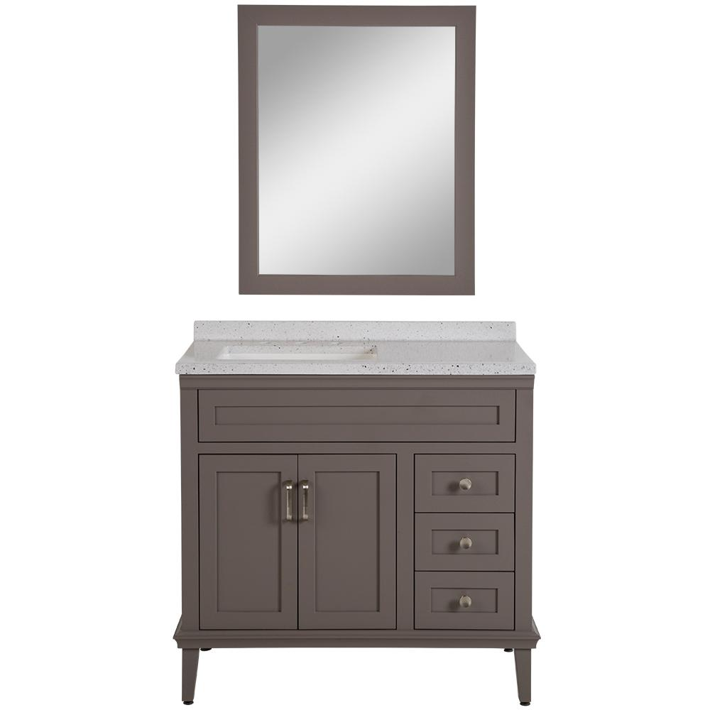 Home Decorators Collection Abbotsford 37.6 in. W Vanity in Taupe Gray with Solid Surface Vanity Top in Silver Ash with White Basin and Mirror