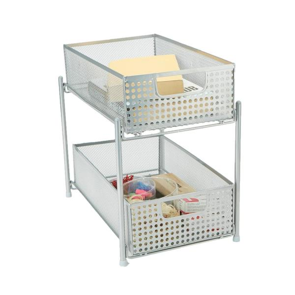 2-Tier Silver Mesh Cabinet Storage Organizer with Pull-Out Basket