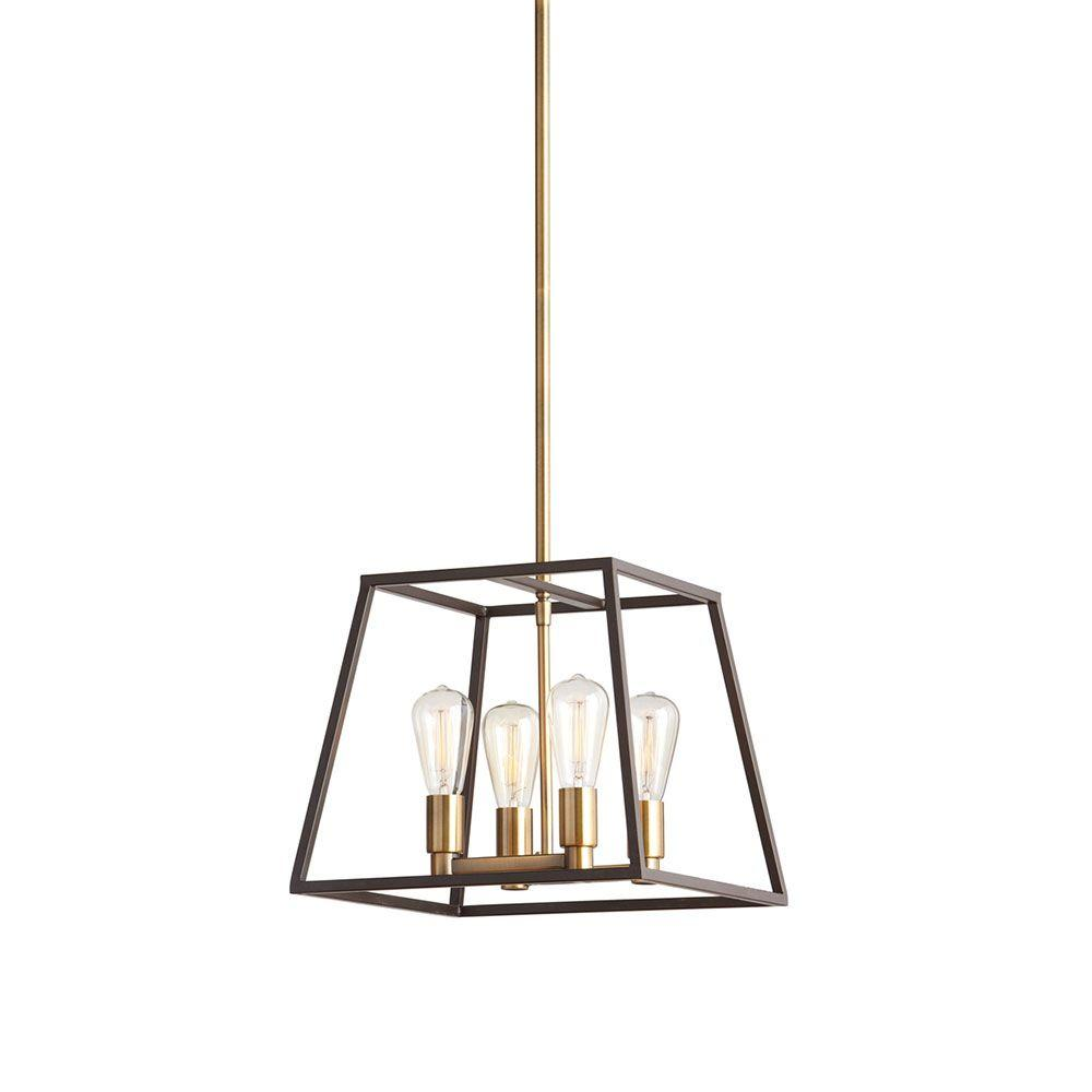 Monteaux Lighting Retro 4 Light Antique Br With Dark Bronze Pendant