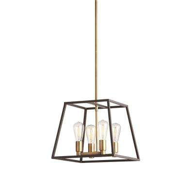 Retro 4-Light Antique Brass with Dark Bronze Pendant