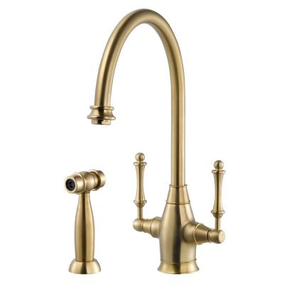 Charleston Traditional 2-Handle Standard Kitchen Faucet with Sidespray and CeraDox Technology in Brushed Brass