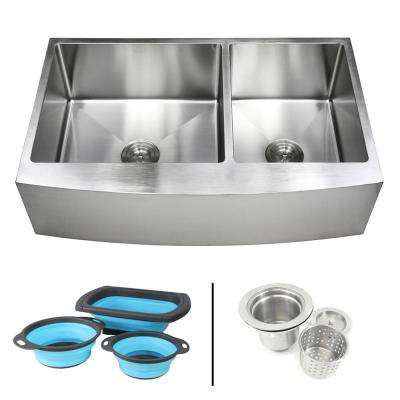 Farmhouse Apron 16-Gauge Stainless Steel 36 in. Curve Front 60/40 Offset Double Bowl Kitchen Sink w Silicone Colanders