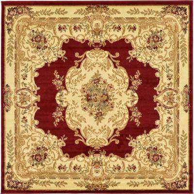 Versailles Red 6 ft. x 6 ft. Square Area Rug