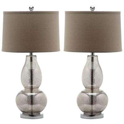 Mercurio 28.5 in. Antique Silver Table Lamp with Wheat Shade (2-Set)