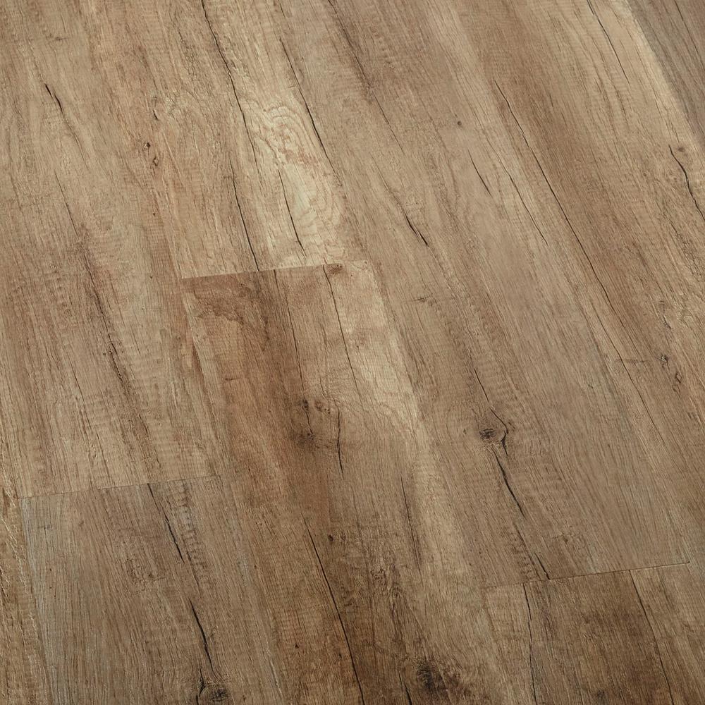 Embossed Greystone Oak Water Resistant Laminate Flooring - 5 in. x 7 in. Take Home Sample