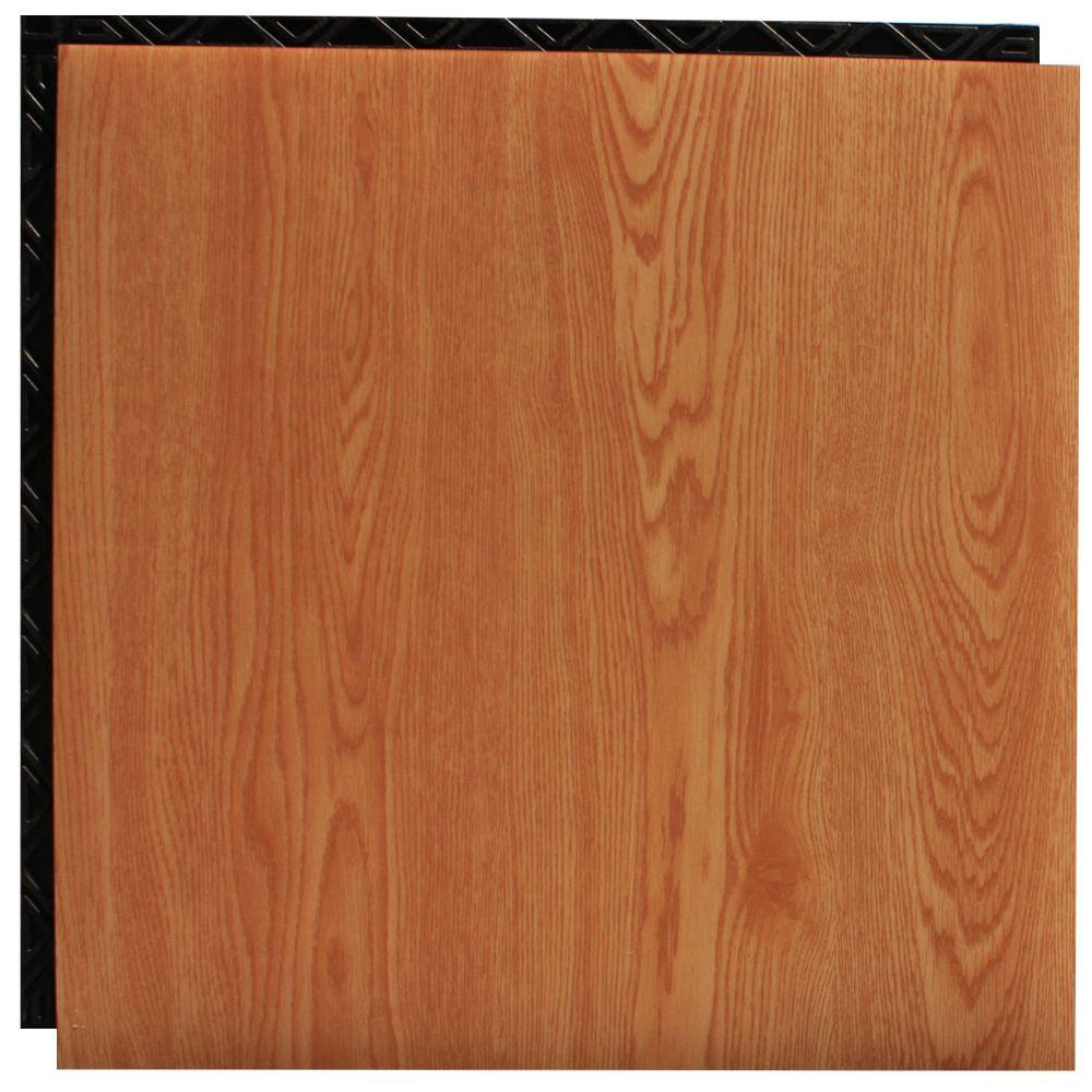 Place N' Go Red Oak 18.5 in. x 18.5 in. Interlocking Waterproof Vinyl Tile with Built-In Underlayment