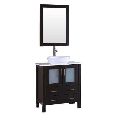 30 in. W Single Bath Vanity in Espresso with  Stone Vanity Top with White Basin and Mirror