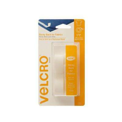 24 in. x 3/4 in. White Sticky Back for Fabrics Tape