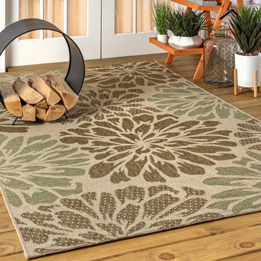 Zinnia Modern Floral Sage/Brown 5 ft. 3 in. x 7 ft. 7 in. Textured Weave Indoor/Outdoor Area Rug