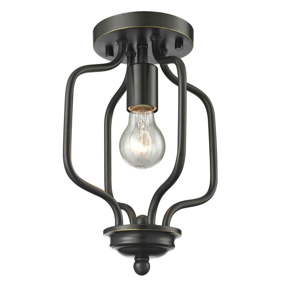 Tetra 1-Light Olde Bronze Flushmount