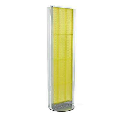60 in. H x 16 in. W Pegboard Floor Display in Yellow with C-Channel Sides on a Revolving Base