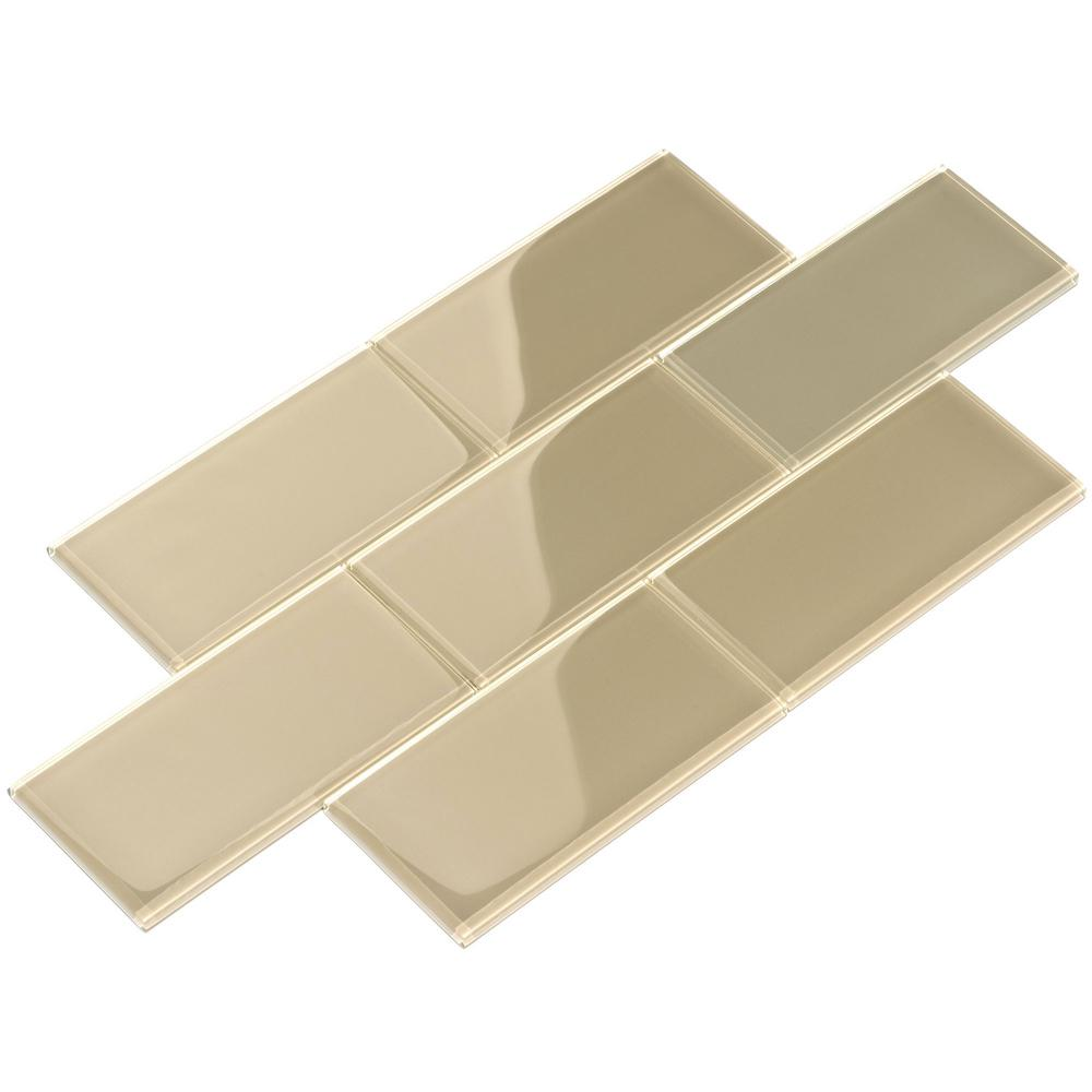 - Giorbello Light Taupe 3 In. X 6 In. X 8 Mm Glass Subway Tile (5.5