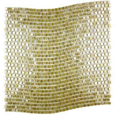 Galaxy Venus Gold Wavy Square Mosaic 0.3125 in. x 0.3125 in. Iridescent Glass Wall Tile (1 Sq. ft.)