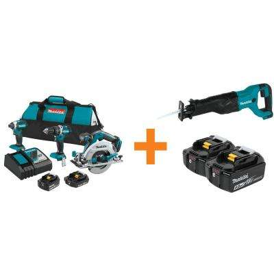 18-Volt LXT Lithium-Ion Brushless Cordless Combo Kit (3-Tool) with Bonus Reciprocating Saw and 2 Batteries 5.0Ah