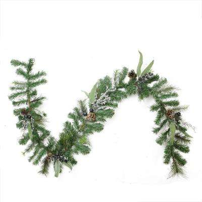 6 ft. x 10 in. Unlit Artificial Mixed Pine with Blueberries Pine Cones and Ice Twigs Christmas Garland