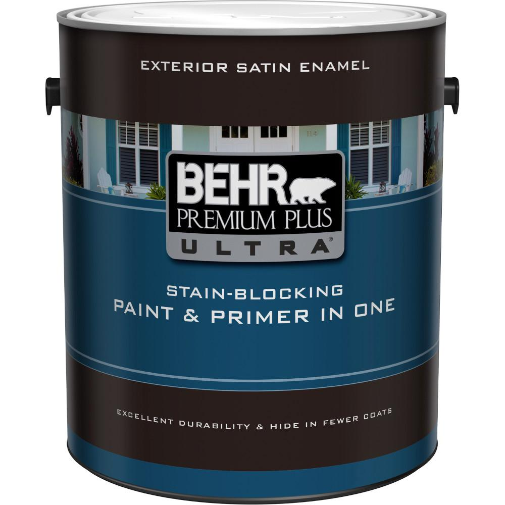 BEHR Premium Plus Ultra 1 gal. Ultra Pure White Satin Enamel Exterior Paint and Primer in One