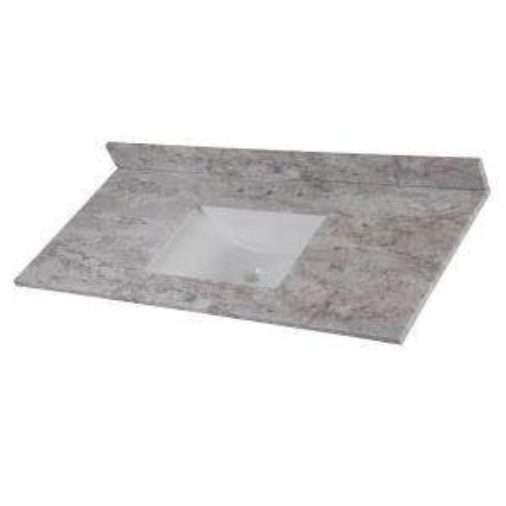 49 in. W x 22 in. D Stone Effects Single Sink Vanity Top in Winter Mist
