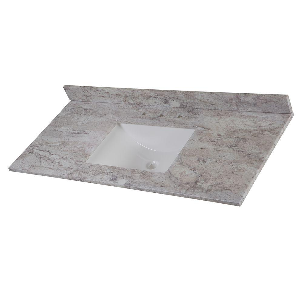 Elegant W Stone Effects Single Basin Vanity Top In Winter Mist