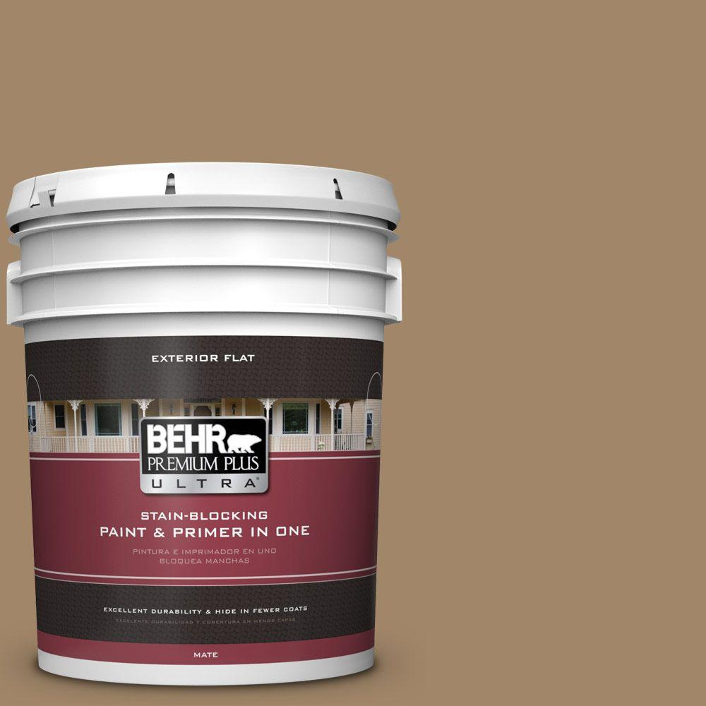 BEHR Premium Plus Ultra Home Decorators Collection 5-gal. #HDC-NT-28 Soft Bronze Flat Exterior Paint
