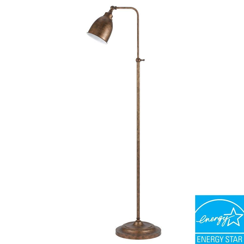 62 in. Rust Metal Adjustable Pharmacy Floor Lamp