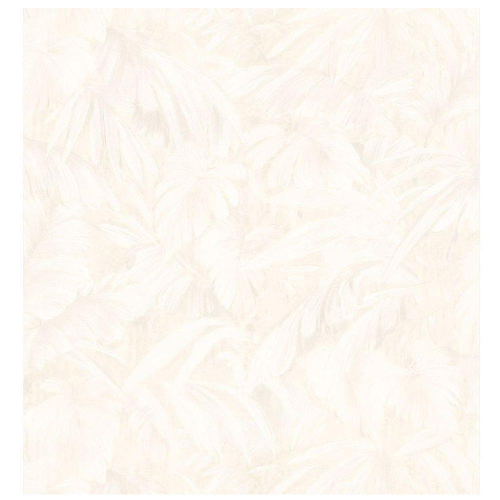 Kitchen and Bath Resource II Neutral Jungle Leaf Wallpaper Sample