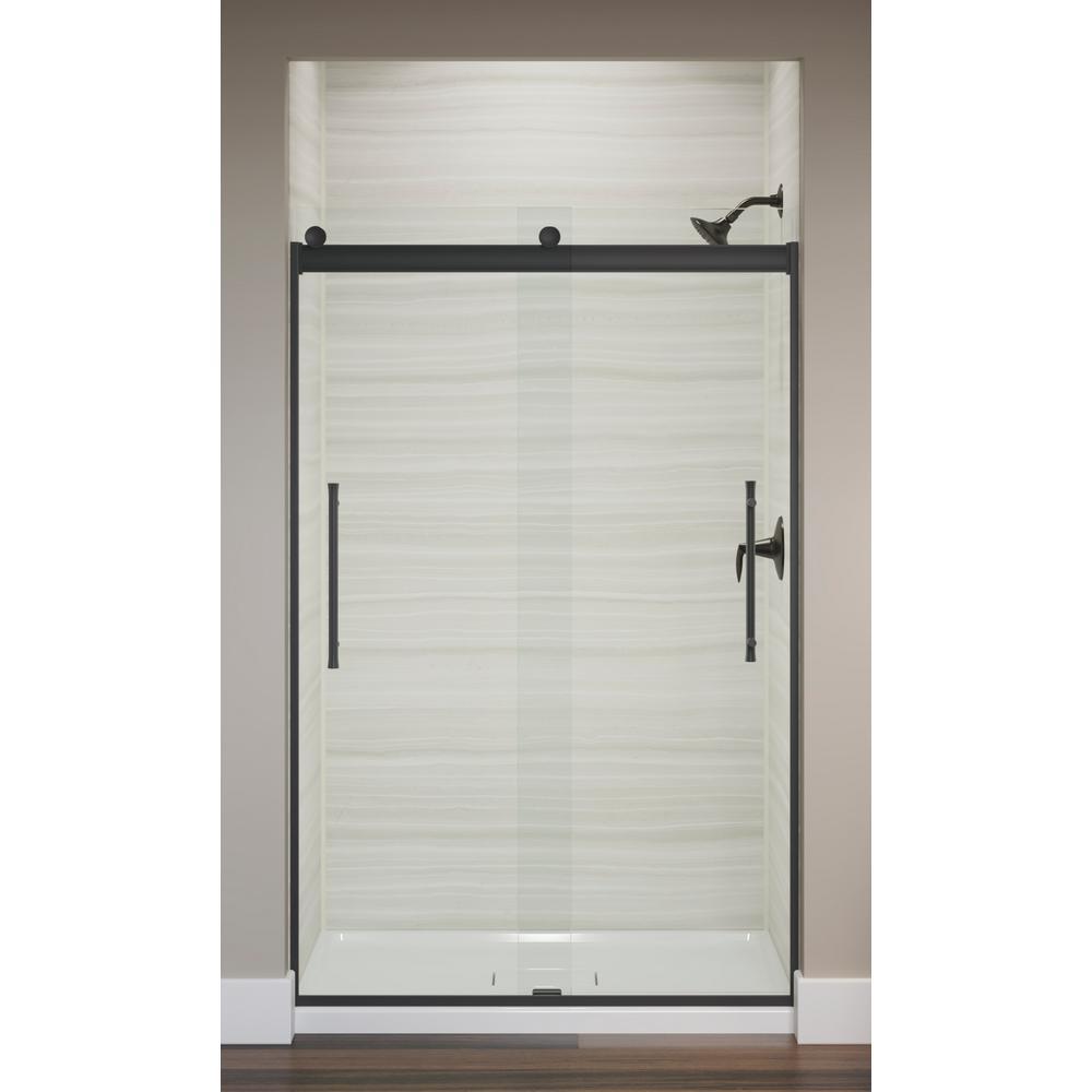 Elmbrook 47.625 in. x 73.4375 in. Frameless Sliding Shower Door in Matte Black