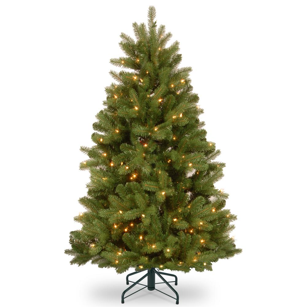 innovative design e972f dd8dd National Tree Company 4-1/2 ft. Feel Real Newberry Spruce Hinged Tree with  450 Dual Color LED Lights