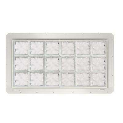 46.75 in. x 24.25 in. x 3.25 in. Wave Pattern Glass Block Window with White Colored Vinyl Nailing Fin