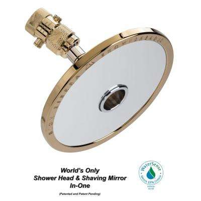 Reflections 1-Spray 5 in. 1.5 GPM Fixed Shower Head and Fogless Shaving Mirror In-One in Polished Brass