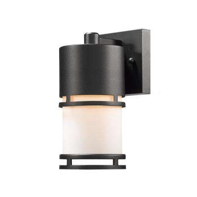 Seija 40-Watt Equivalent Outdoor Black Integrated LED Wall Mount Sconce with Matte Opal Glass Shade