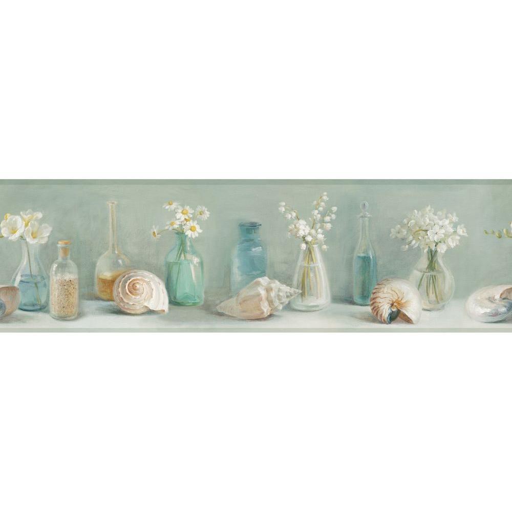 Cahoon Green Sea Glass Wallpaper Border Sample