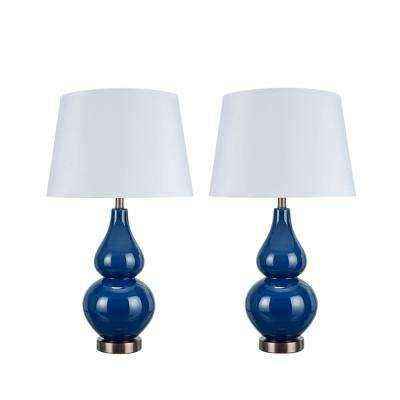 26 in. Navy Blue Glass Table Lamp with Hardback Empire Shaped Lamp Shade in White (2-Pack)