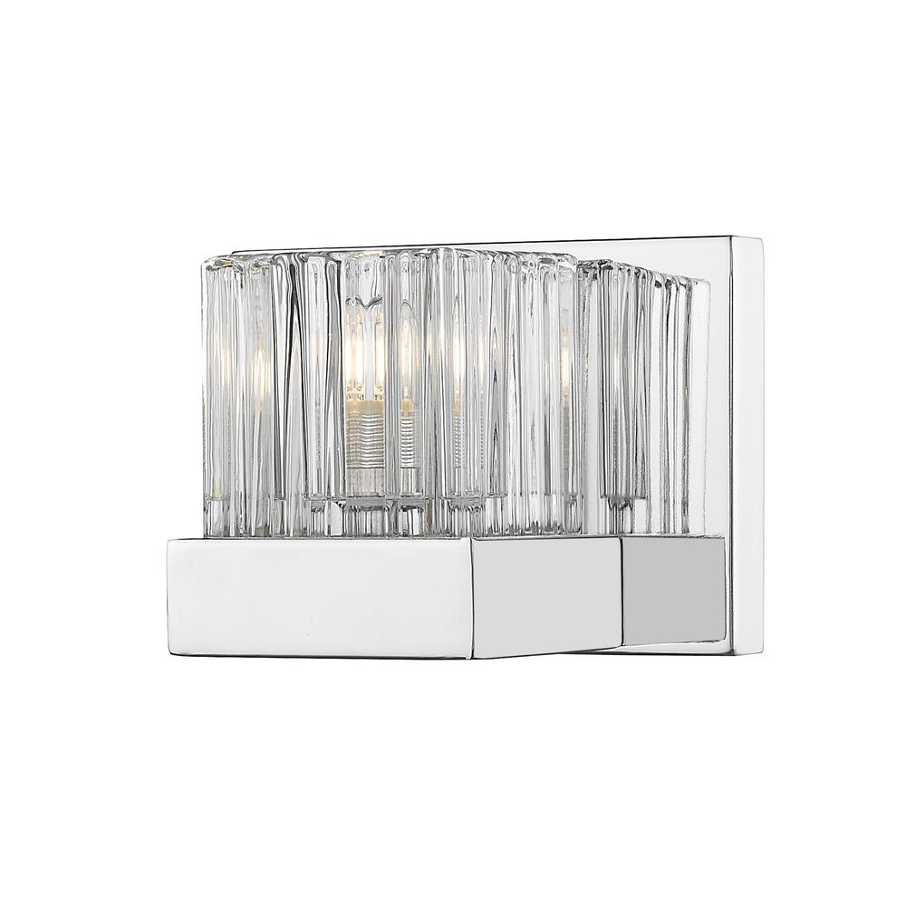 1-Light Chrome Sconce with Clear Ribbed and Frosted Crystal