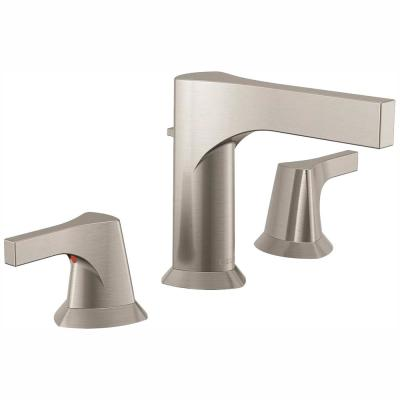 Zura 8 in. Widespread 2-Handle Bathroom Faucet with Metal Drain Assembly in Stainless