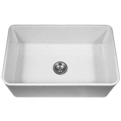Platus Series Farmhouse Apron Front Fireclay 33 in. Single Bowl Kitchen Sink in White