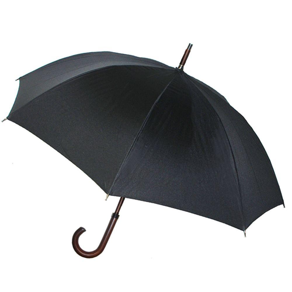 Kenlo 48 in. Arc Walnut Wood Handle Auto Stick Umbrella in Black