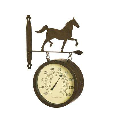 2-Sided Outdoor Wall Clock and Thermometer with Horse Icon