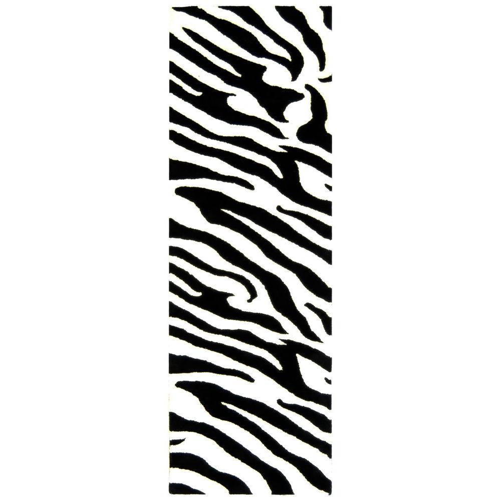 Soho White/Black 3 ft. x 12 ft. Runner Rug