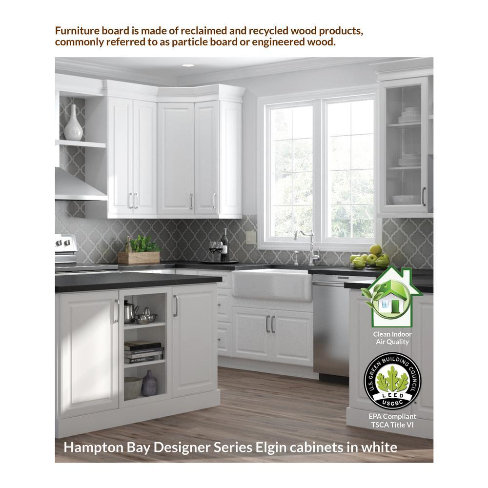 Hampton Bay Designer Series Elgin Assembled 30x34 5x23 75 In Blind Corner Base Kitchen Cabinet In White Bb39l Elwh The Home Depot
