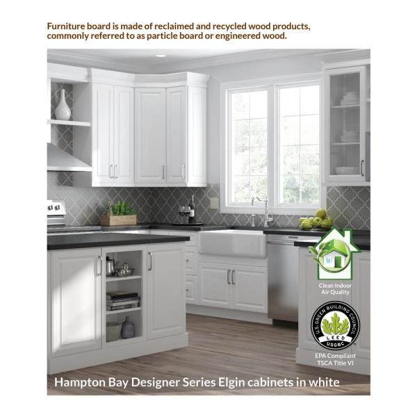 Hampton Bay Designer Series Elgin Assembled 33x12x15 In Wall Kitchen Cabinet In White W331215 Elwh The Home Depot