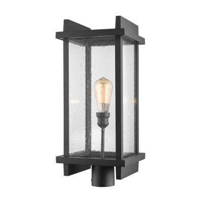 Forge 1-Light Outdoor Black Post Light with Clear Seedy Glass