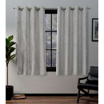 Forest Hill 52 in. W x 63 in. L Woven Blackout Grommet Top Curtain Panel in Dove Grey (2 Panels)
