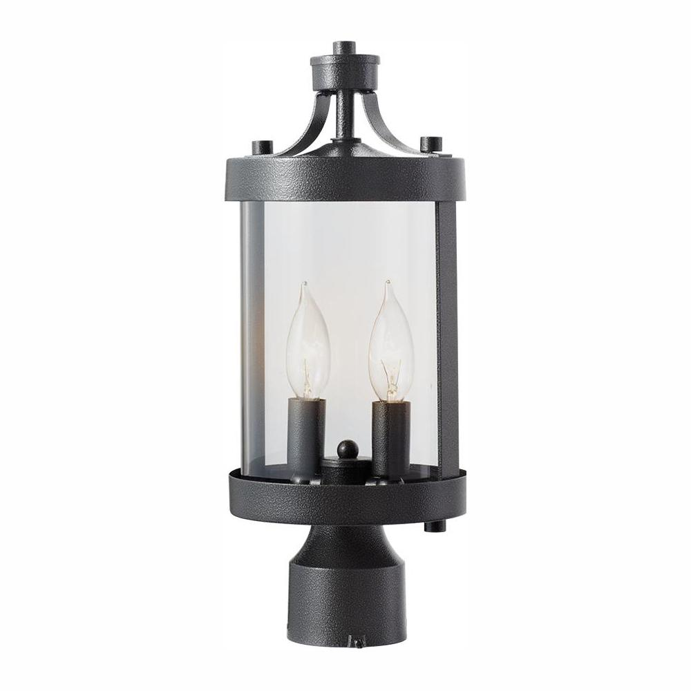Home Decorators Collection Caged 2-Light Outdoor Aged Iron Post Light