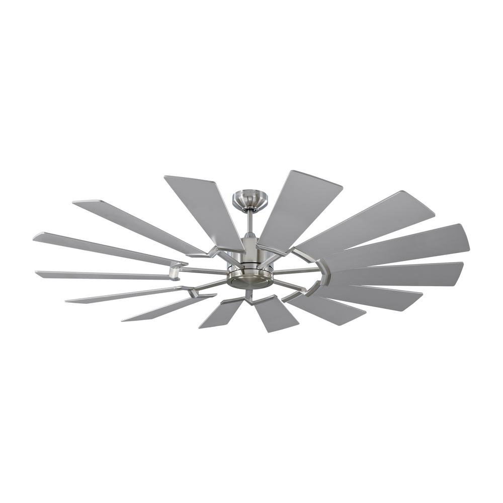 Monte Carlo Prairie 62 in. Integrated LED Indoor/Outdoor Brushed Steel Ceiling Fan with Dual Washed Oak or Silver Blades and Remote