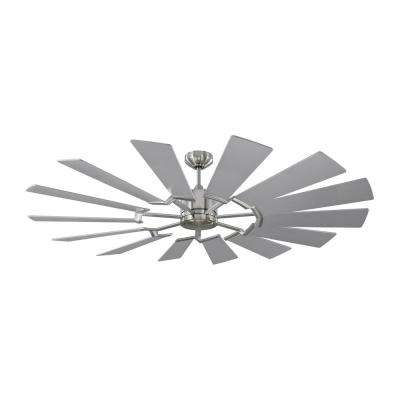 Prairie 62 in. Integrated LED Indoor/Outdoor Brushed Steel Ceiling Fan with Remote Control